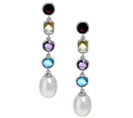 Honora Cultured Pearl 9.0mm & Multi-gemstone Sterling Drop Earrings