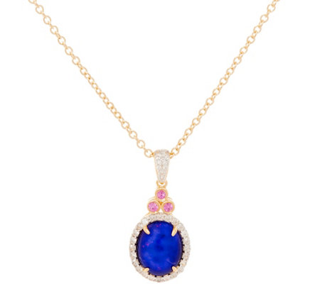 Blue Ethiopian Opal & Pink Sapphire Sterl. Pendant on Chain