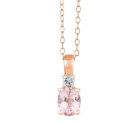 Premier Oval Morganite and 1/10cttw Diamond Pendant, 14K