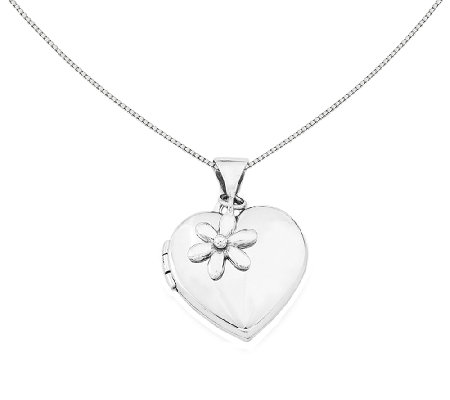 "Sterling 18"" Heart w/ Flower Dangle Locket Necklace"