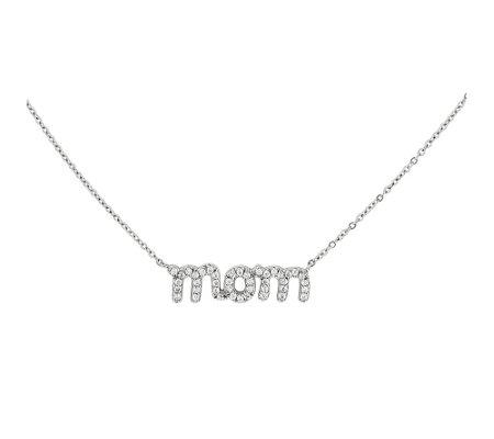 Sterling Mom Crystal 18 Necklace
