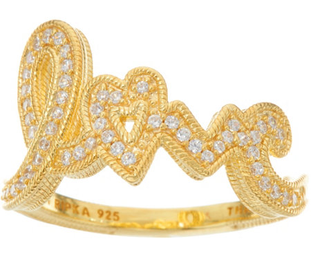 Judith Ripka 14K Clad 4/10 cttw Diamonique Pave Love Ring