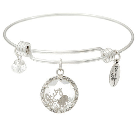 """As Is"" Extraordinary Life Sterling Silver Motif Charm Bangles"