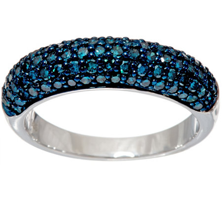 Pave' Colored Diamond Domed Band Ring Sterl., 1.00 ct by Affinity