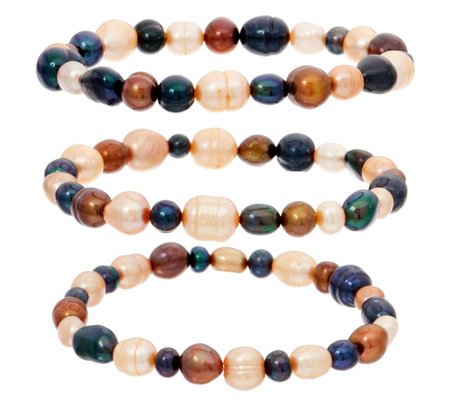 Honora Cultured Pearl Set of Three Stretch Bracelets
