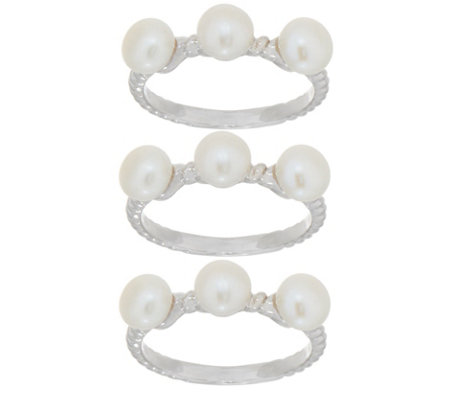 Honora Cultured Pearl Set of Three Rings, Sterling