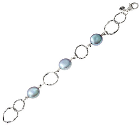 """As Is"" Sterling Silver Cultured Coin Pearl Bracelet by Or Paz"