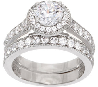 Diamonique Two Piece Halo Ring Set Platinum Clad J353401
