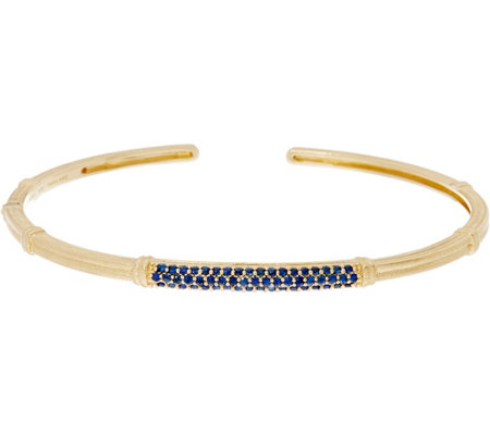 """As Is"" Judith Ripka 14K Gold Colors of Sapphire Cuff Bracelet"