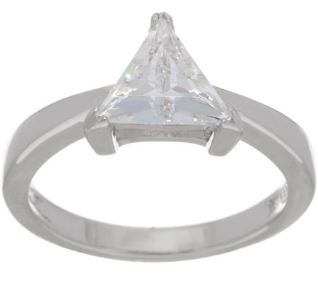 Diamonique Trillion-Cut Ring, Sterling Silver or 14K Clad