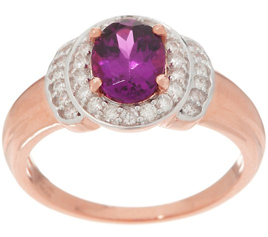 Oval Gemstone and Diamond Ring, 14K Gold
