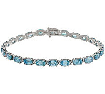 "Blue Zircon Oval 7-1/4"" Tennis Bracelet 15.50 cttw, 14K Gold - J357201"
