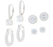 Diamonique Set of 4 Earrings, Boxed Sterling Silver or 18K Plated - J358301