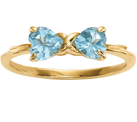 14K Gold Heart Gemstone Bow Ring