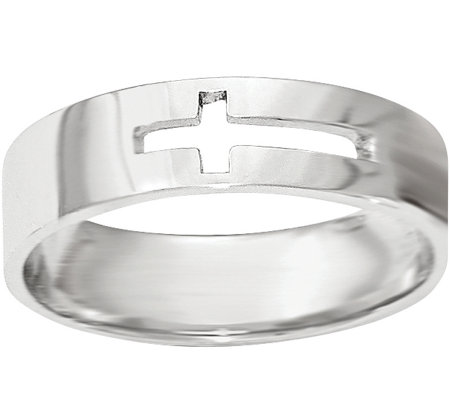 14K White Gold Cross Cutout Ring