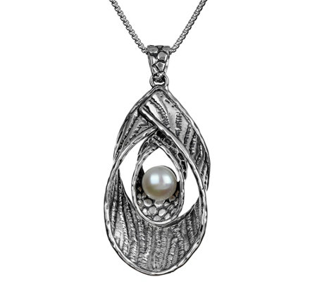 Or Paz Sterling Silver Textured Double Loop Pendant w/ Chain