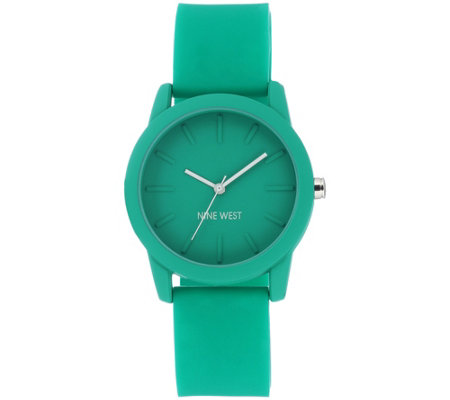 Nine West Women's Green Silicon Strap Watch