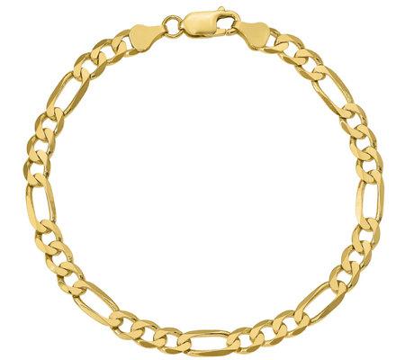 14k Gold Men S 9 Flat Figaro Link Bracelet 10 6g Qvc