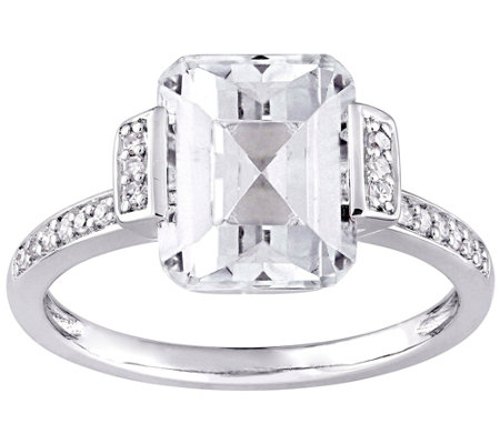 Sterling Silver 4.00 cttw Emerald-Cut Topaz & Diamond Ring
