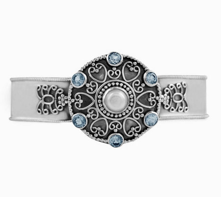 Artisan Crafted Sterling Silver Medallion CuffBracelet