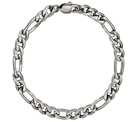 "Steel by Design Men's 9"" Figaro Bracelet"