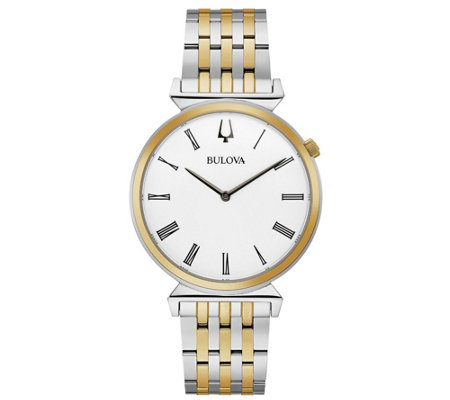 Bulova Men's Two-Tone Stainless Steel White Dial Watch