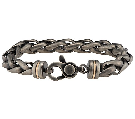 James Michael Men's Antiqued Stainless Wheat Link Bracelet