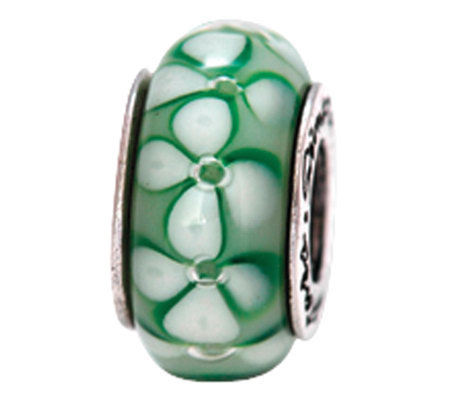 Prerogatives Sterling Green Floral Glass Bead