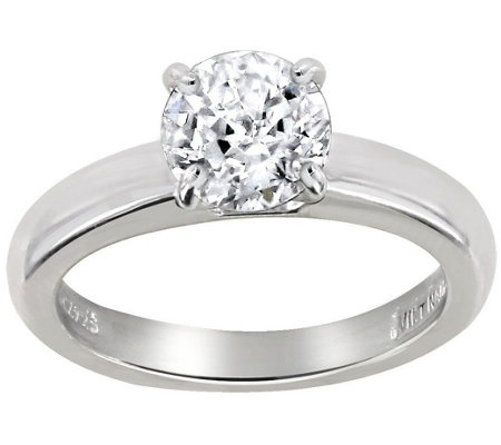 Diamonique 1.00 cttw 100-Facet Solitaire Ring,Platinum Clad