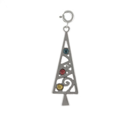 Sterling Modern Christmas Tree Charm with Crystal Accents