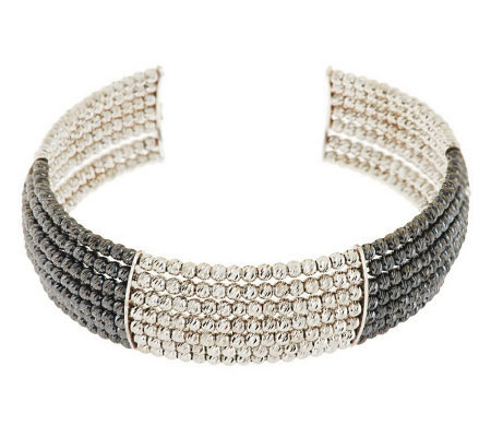 VicenzaSilver Sterling Average Multi-row Beaded Cuff