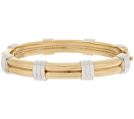 14K Gold Average Polished Double Ribbed Polished Station Bangle