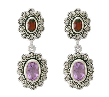 Suspicion Sterling Marcasite Oval Garnet & Amethyst Earrings