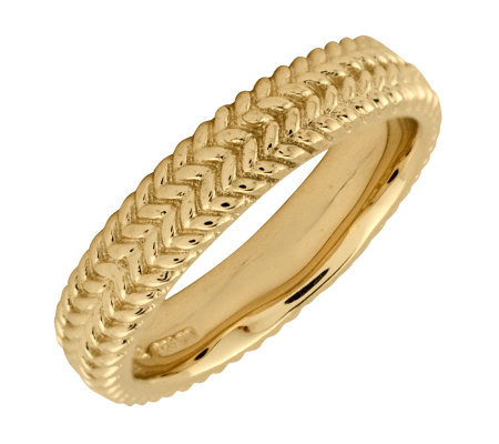 Simply Stacks Sterling 18K YellowGold-Plated Zigzag 4.25mmRin