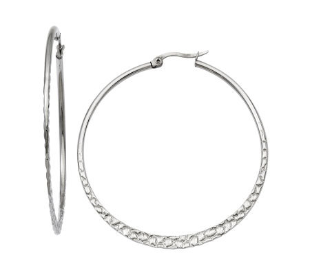 "Steel by Design 2-1/8"" Textured Hoop Earrings"
