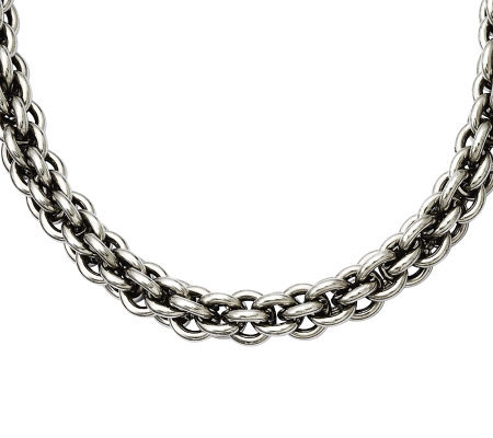 "Stainless Steel 22"" Round Link Chain Necklace"