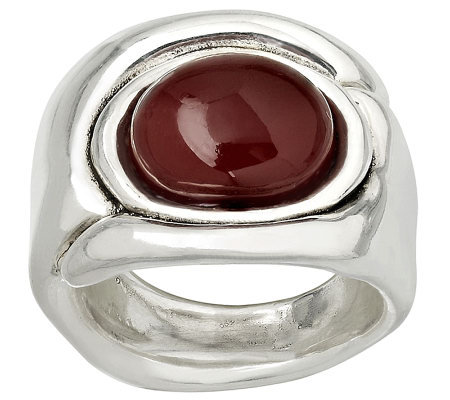 Or Paz Sterling Oval Carnelian Ring