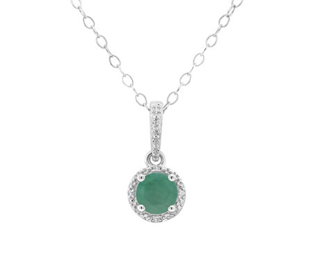 Sterling Birthstone Pendant with Diamond Accents & Chain