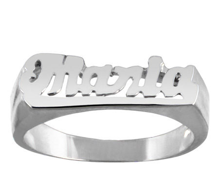 Sterling Polished Personalized Name Ring