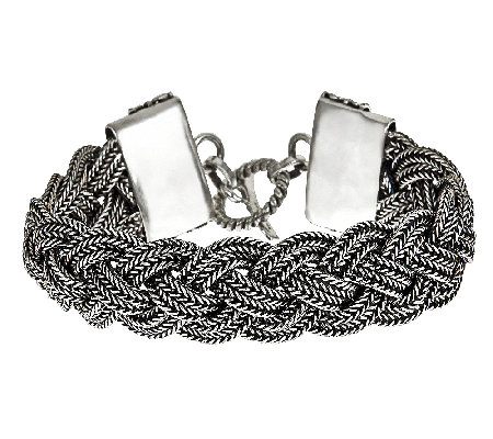 "Sterling 7-1/2"" Oxidized Toggle Bracelet"