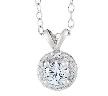 Round Diamond Halo Pendant, 14K Gold, 3/4 cttw,by Affinity