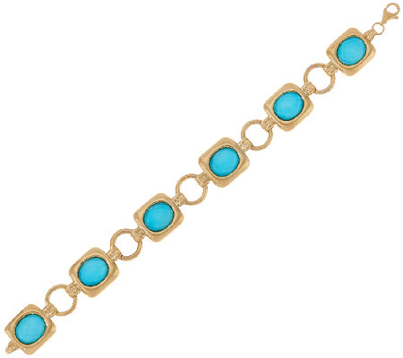 14K Gold Large Sleeping Beauty Turquoise Doublet Bracelet