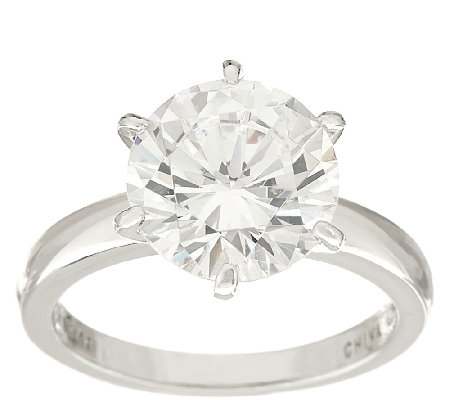 Diamonique 3.00 cttw Solitaire Ring, Platinum Clad