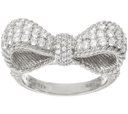 Judith Ripka Sterling 1.45 cttw Diamonique Pave' Bow Ring