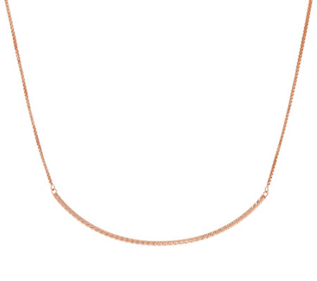 Sterling Silver Polished Curved Bar Necklace by Silver Style