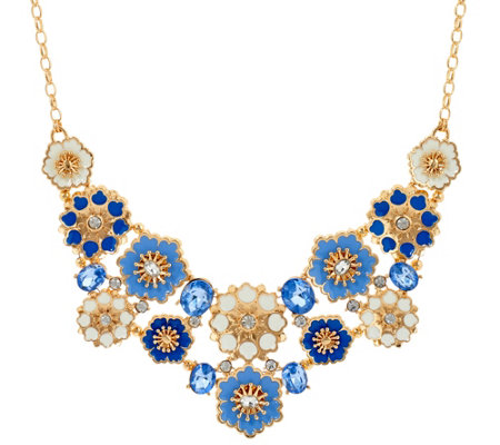 C. Wonder Crystal & Enamel Floral Bib Statement Necklace