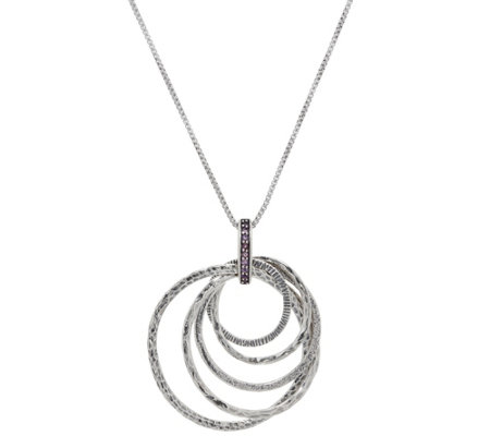 Or Paz Sterling Silver Multi-Circle Gemstone Accent Pendant w/Chain