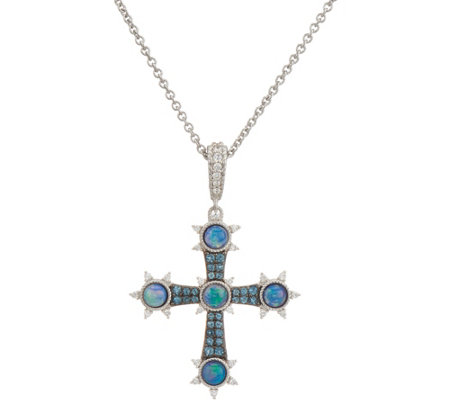 Judith Ripka Sterling Silver Opal Doublet Cross Enhancer with Chain