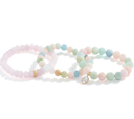 Dee Berkley Set of Three Rose Quartz Bracelets