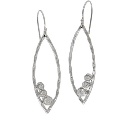 Diamonique Marquise Shaped Dangle Earrings Sterling